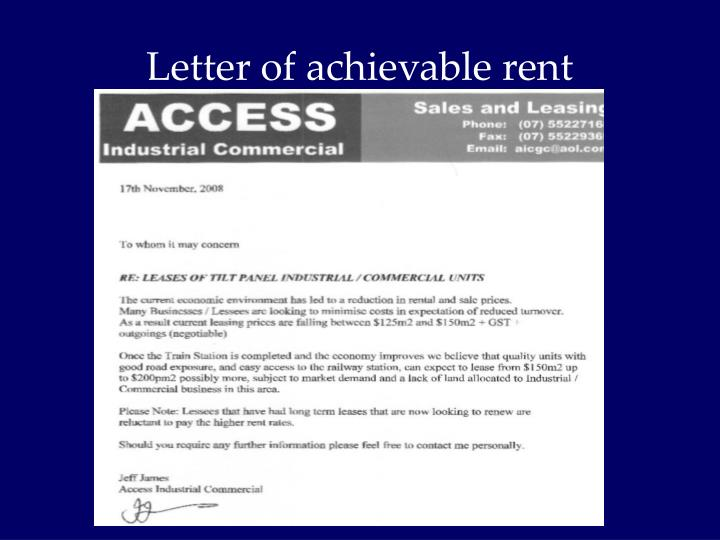 Letter of achievable rent