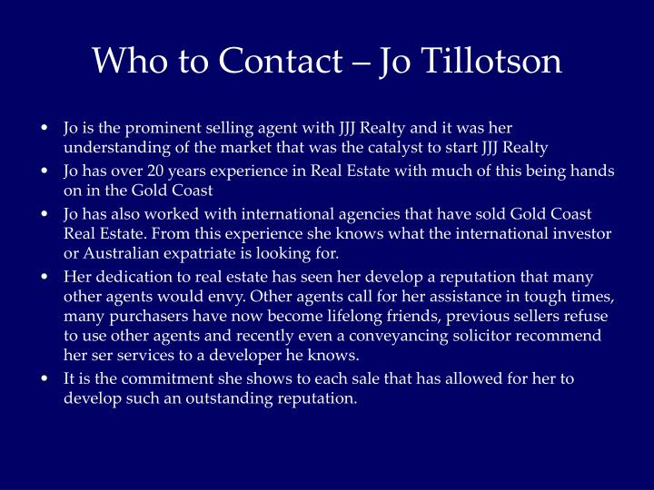 Who to Contact – Jo Tillotson