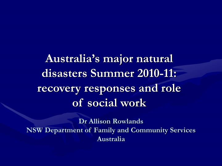 Dr allison rowlands nsw department of family and community services australia