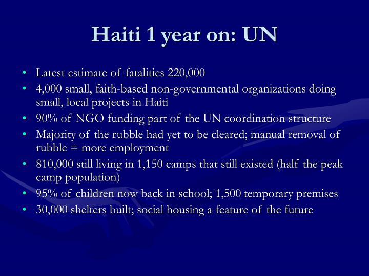 Haiti 1 year on: UN