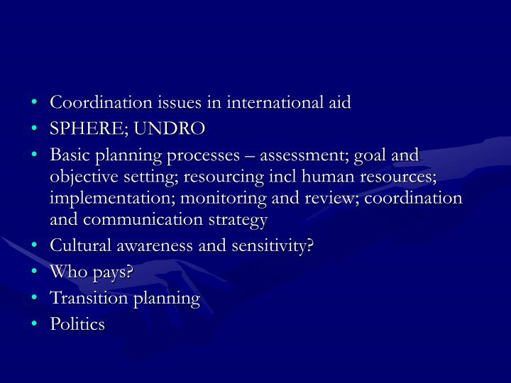 Coordination issues in international aid