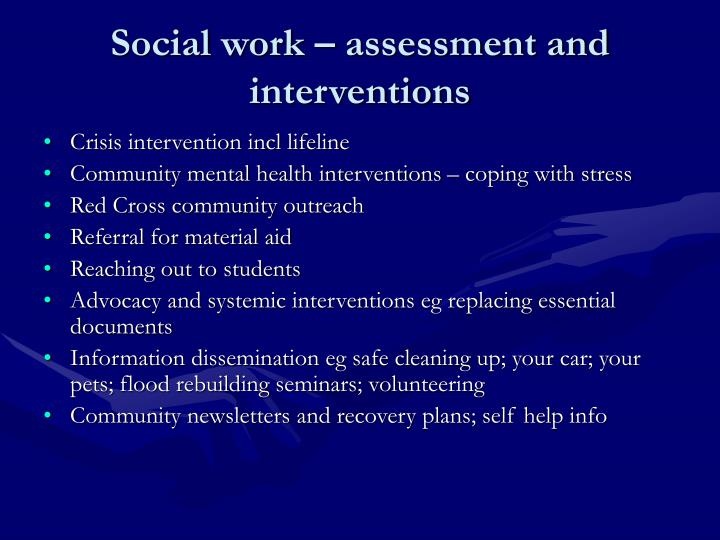 Social work – assessment and interventions