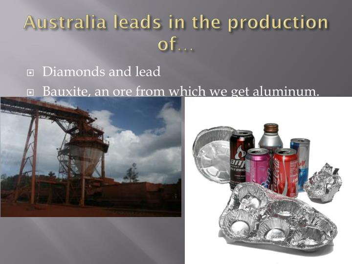 Australia leads in the production of…