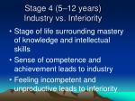 stage 4 5 12 years industry vs inferiority