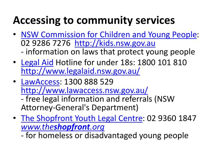 Accessing to community services