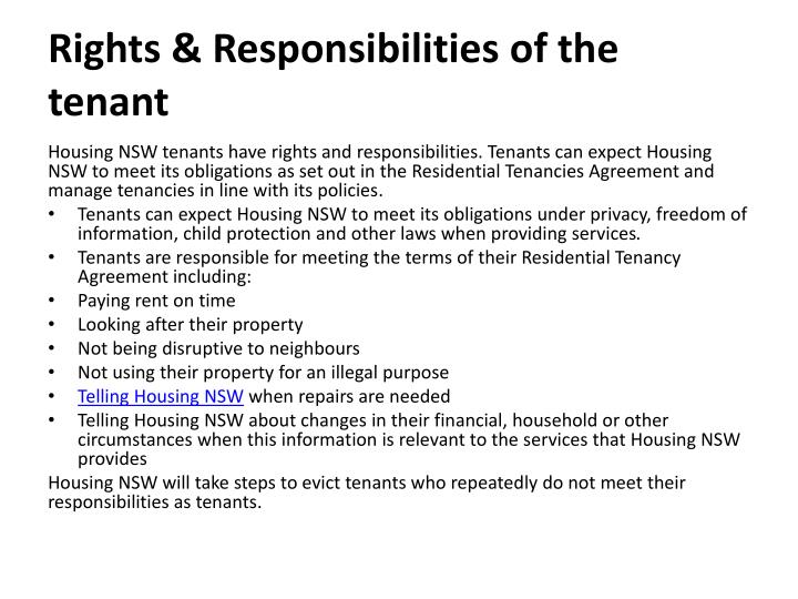 Rights & Responsibilities of the tenant