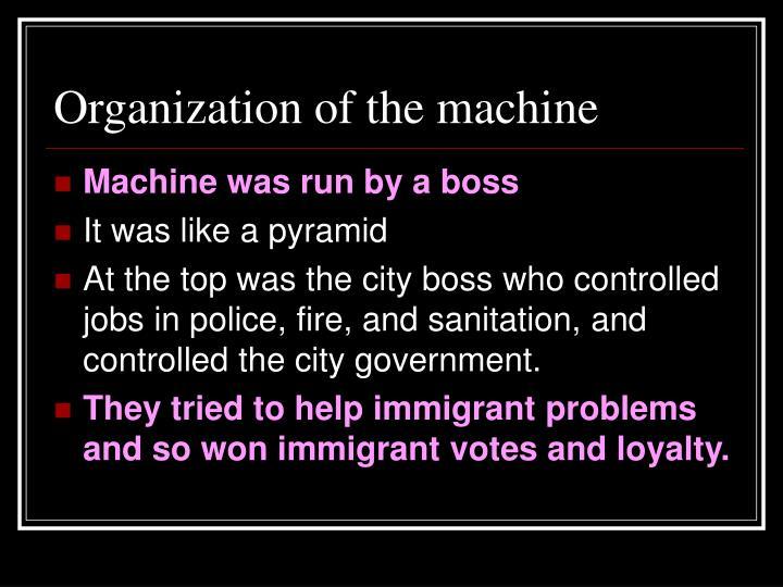 Organization of the machine