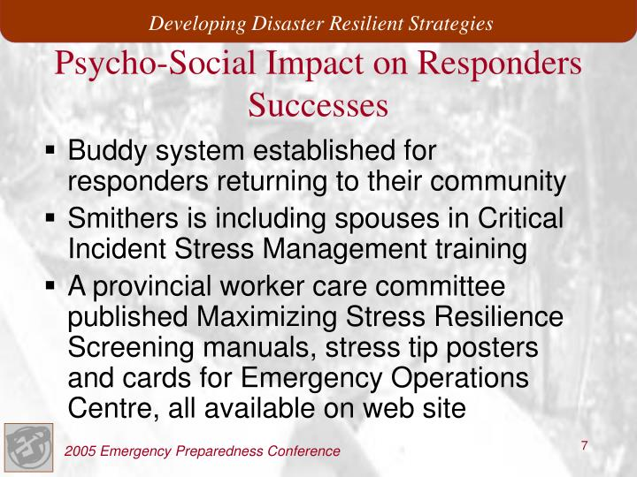 Buddy system established for responders returning to their community