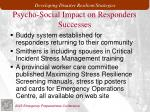 psycho social impact on responders successes