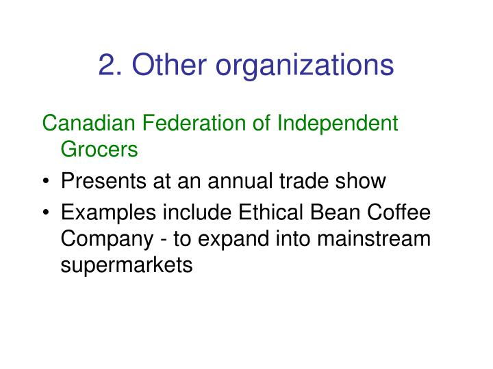 2. Other organizations