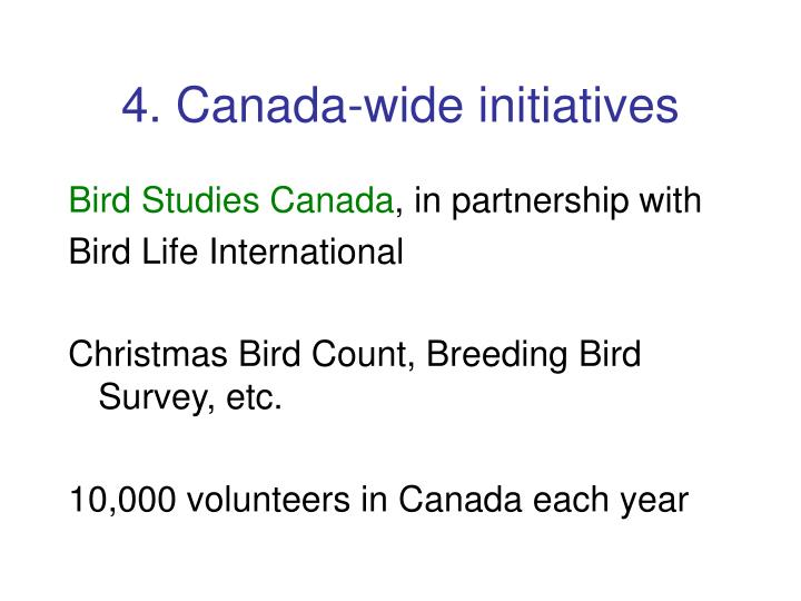 4. Canada-wide initiatives