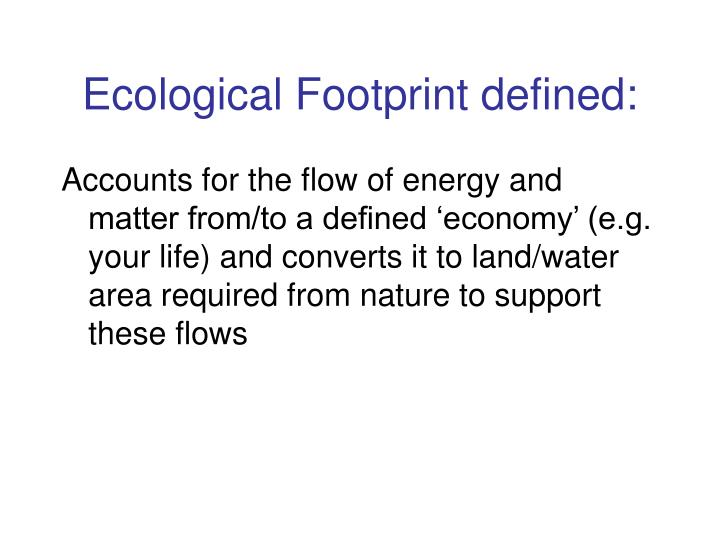 Ecological Footprint defined: