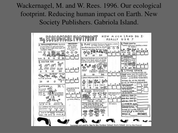 Wackernagel, M. and W. Rees. 1996. Our ecological footprint. Reducing human impact on Earth. New Society Publishers. Gabriola Island.