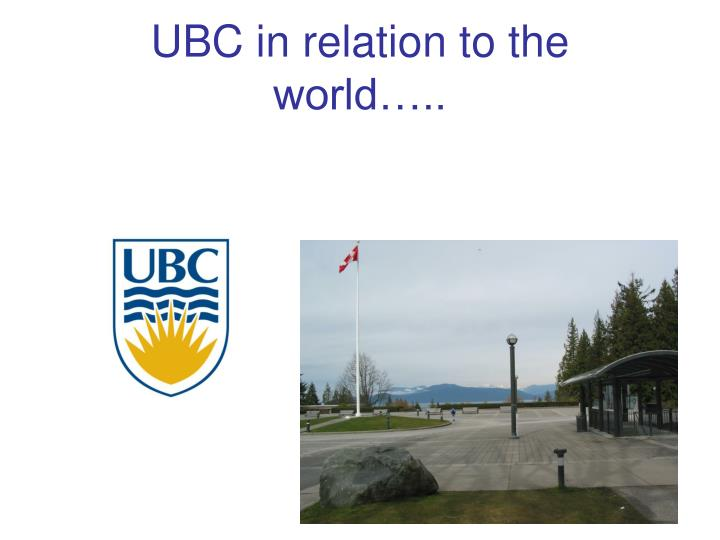 UBC in relation to the world…..