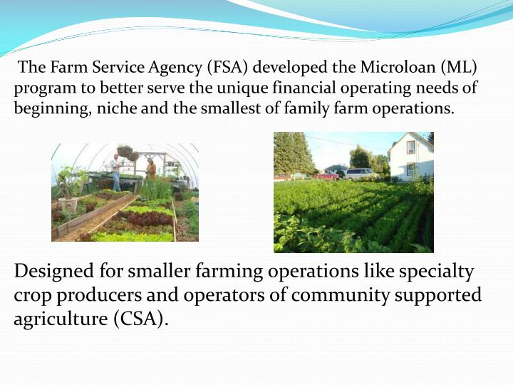 The Farm Service Agency (FSA) developed the Microloan (ML) program to better serve the unique financial operating needs of beginning, niche and the smallest of family farm