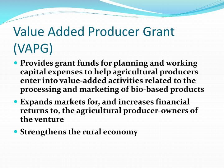 Value Added Producer Grant (VAPG)