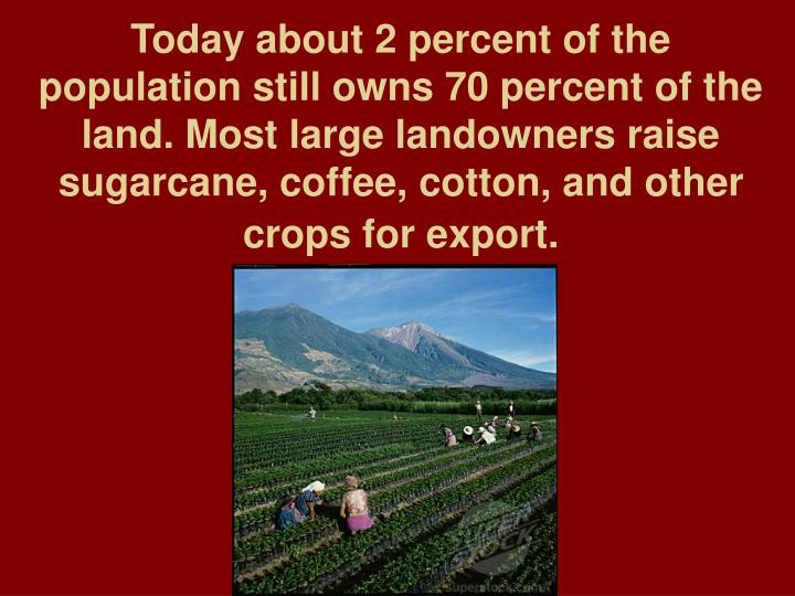 Today about 2 percent of the population still owns 70 percent of the land. Most large landowners raise sugarcane, coffee, cotton, and other crops for export.