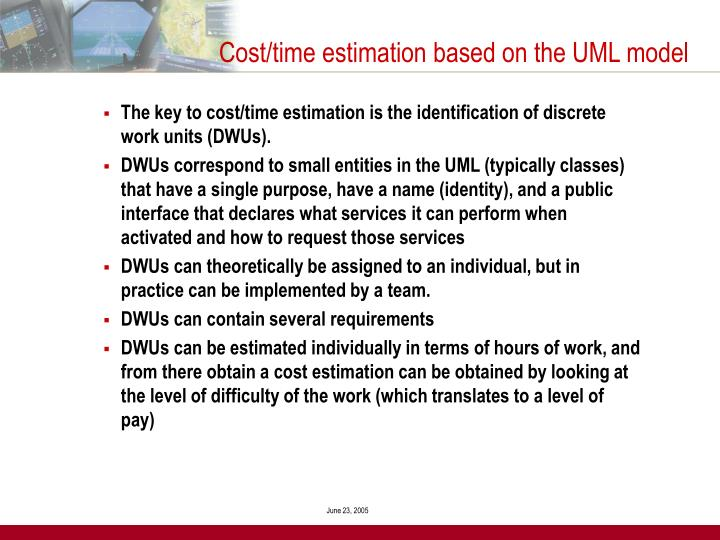 Cost/time estimation based on the UML model