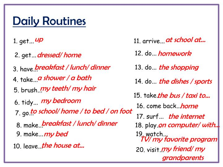 Daily routines1