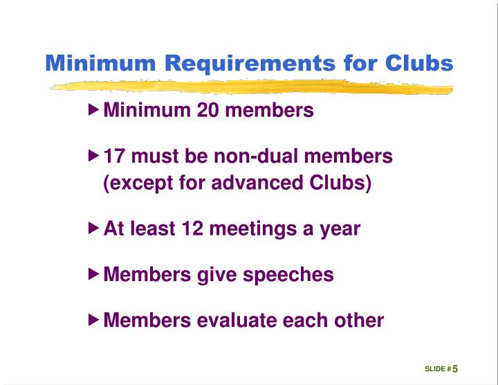 Minimum Requirements for Clubs