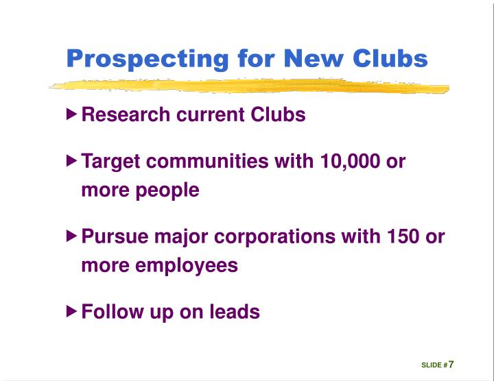 Prospecting for New Clubs