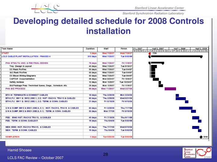 Developing detailed schedule for 2008 Controls installation