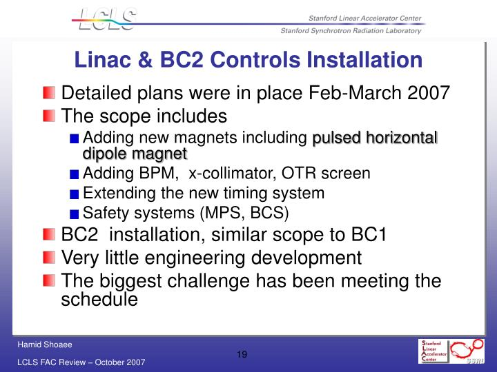 Linac & BC2 Controls Installation