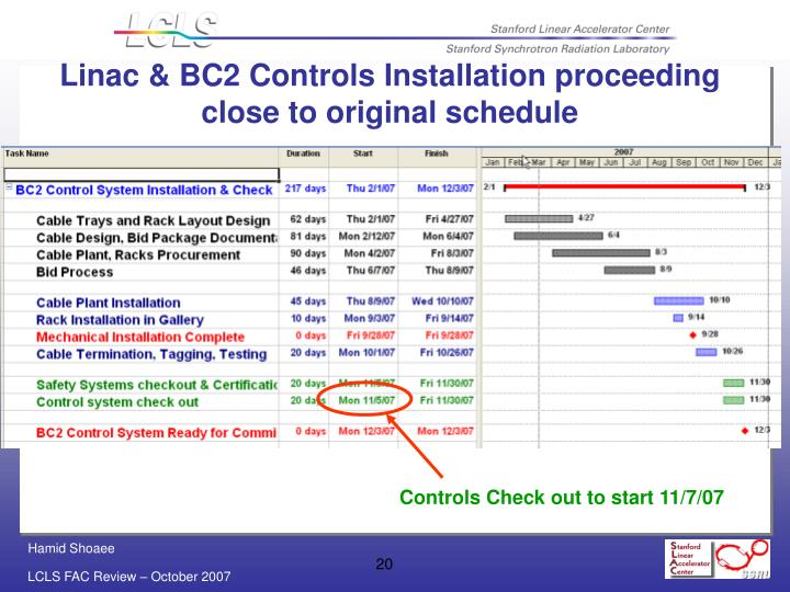 Linac & BC2 Controls Installation proceeding close to original schedule