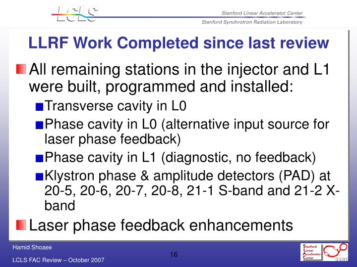 LLRF Work Completed since last review