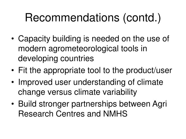 Recommendations (contd.)