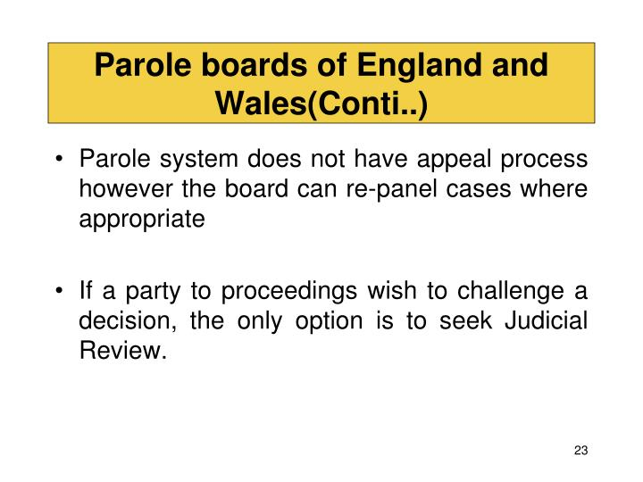 Parole boards of England and Wales(Conti..)