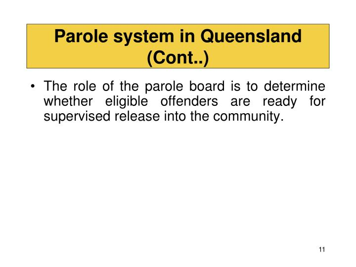 Parole system in Queensland