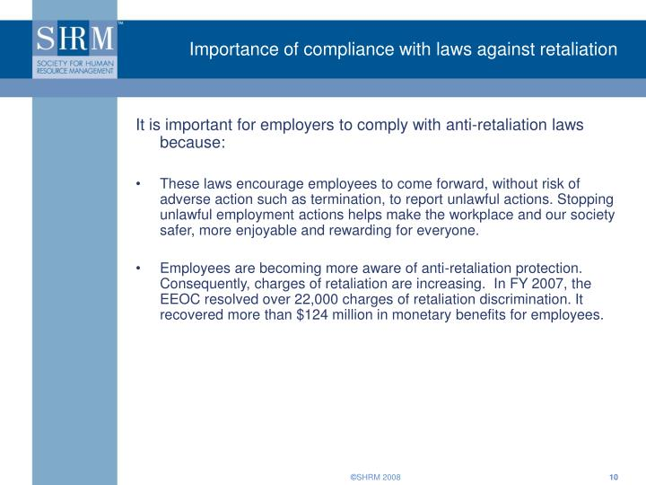 Importance of compliance with laws against retaliation