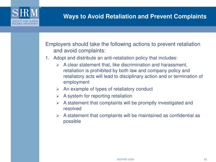 Ways to Avoid Retaliation and Prevent Complaints