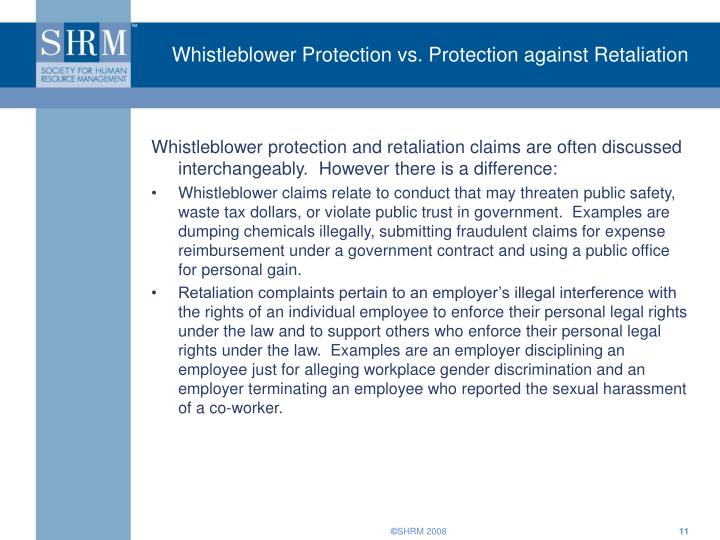 Whistleblower Protection vs. Protection against Retaliation