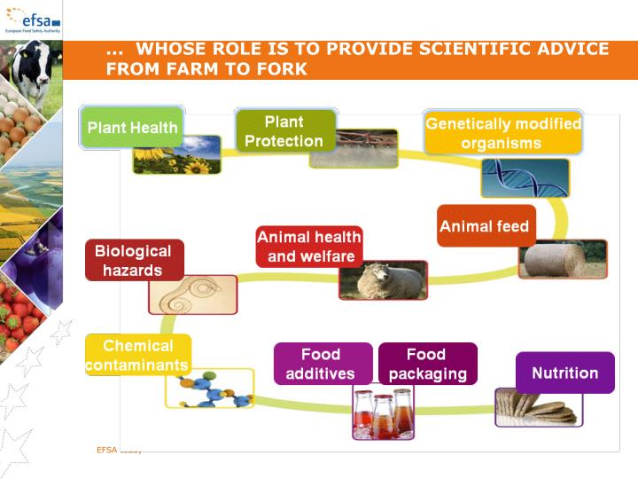 ...  whose role is to provide scientific advice from farm to fork