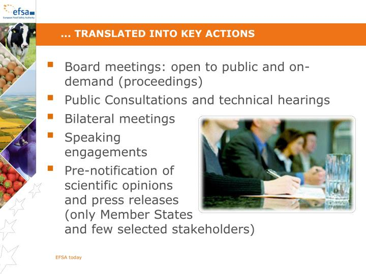 ... translated into key actions