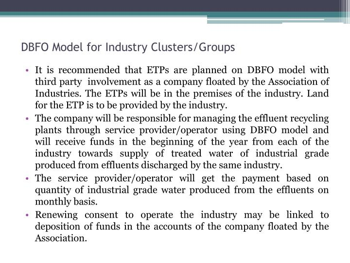 DBFO Model for Industry Clusters/Groups