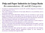 pulp and paper industries in ganga basin recommendations b1 and b2 categories