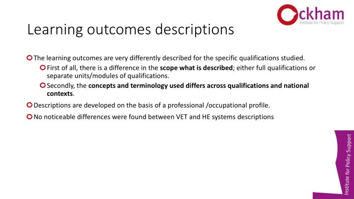Learning outcomes descriptions