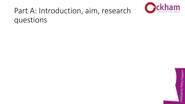 Part A: Introduction, aim, research questions