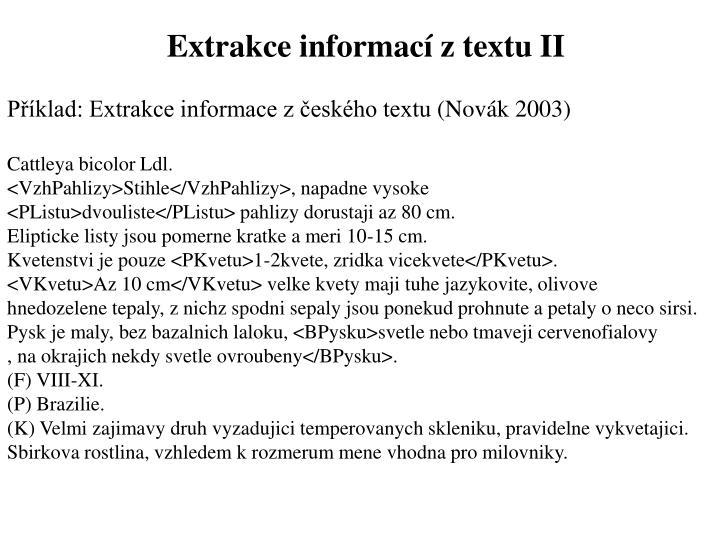 Extrakce informací z textu II
