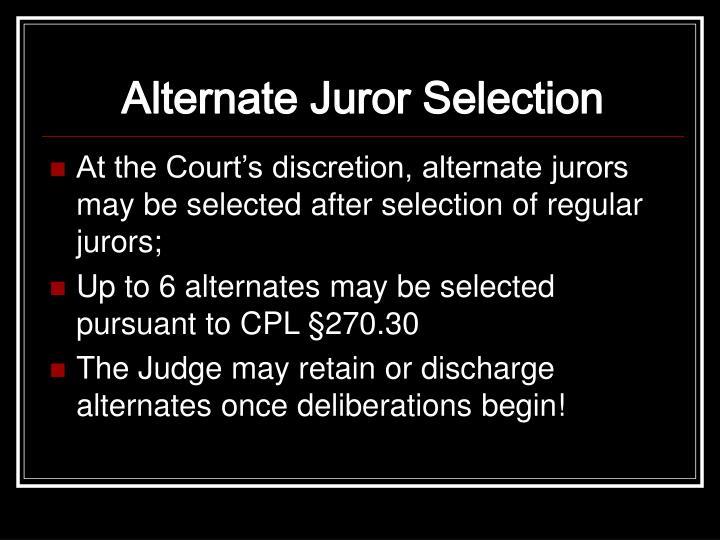 Alternate Juror Selection