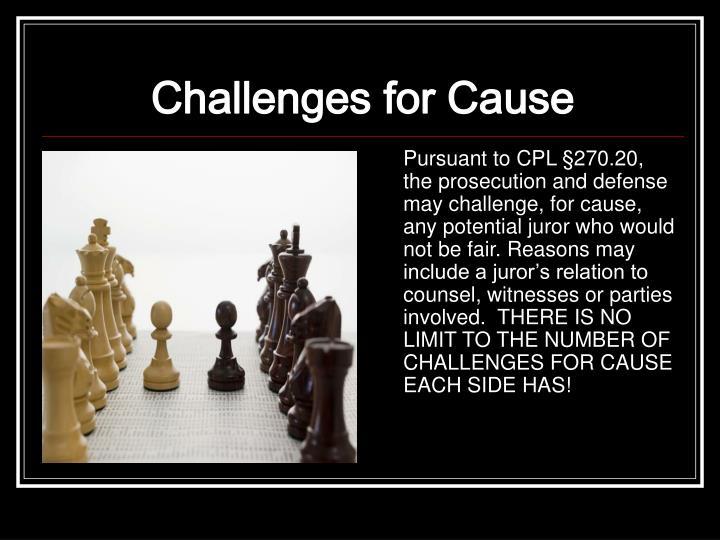 Challenges for Cause