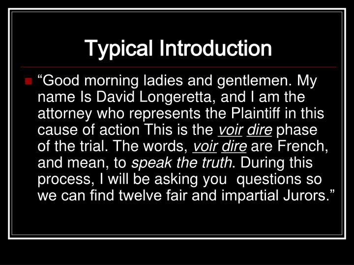 Typical Introduction