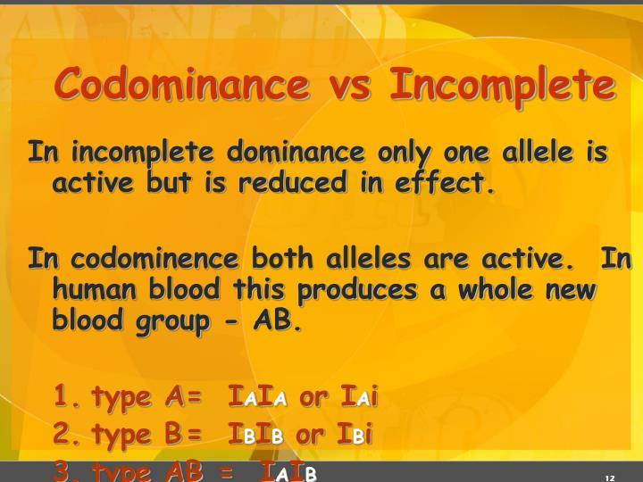 Codominance vs Incomplete