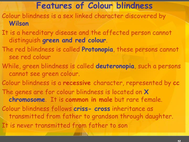 Features of Colour blindness
