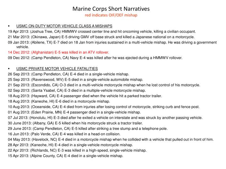 Marine Corps Short Narratives
