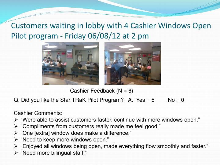 Customers waiting in lobby with 4 Cashier Windows Open Pilot program - Friday 06/08/12 at 2 pm