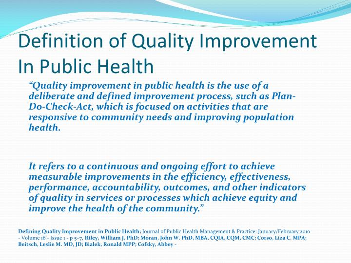 Definition of Quality Improvement